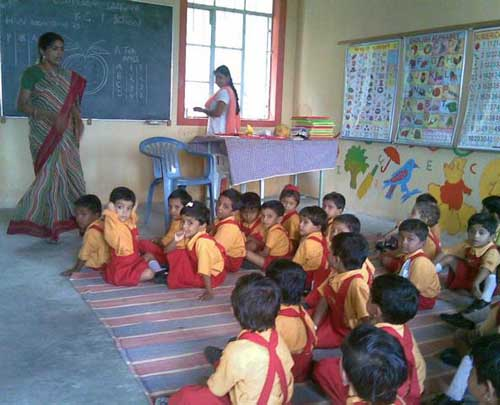 Kindergarten class in Bamhani Base Centre